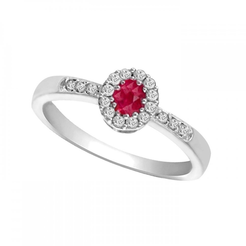 14K White Gold Color Ensembles Halo Prong Ruby Ring 1/6CT