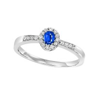 14K White Gold Color Ensembles Halo Prong Sapphire Ring 1/6CT
