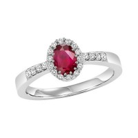 14K White Gold Halo Prong Ruby Ring (1/8 Ct. Tw.)