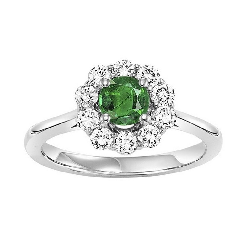 14K White Gold Halo Prong Emerald Ring (1/2 Ct. Tw.)