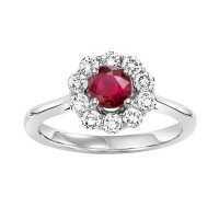 14K White Gold Halo Prong Ruby Ring (1/2 Ct. Tw.)