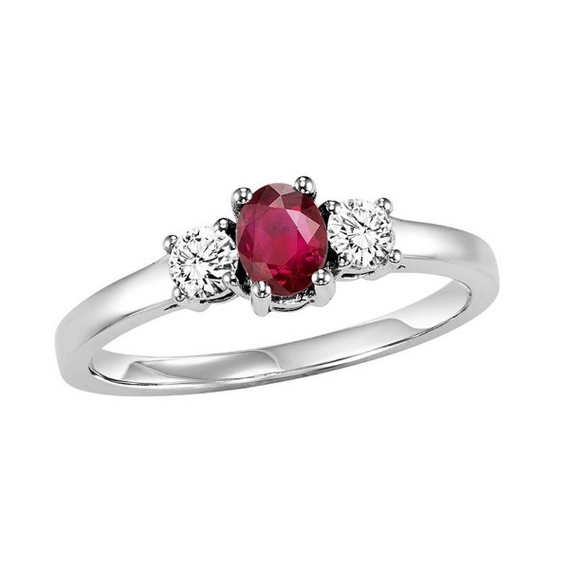 14K White Gold Prong Ruby Ring (1/4 Ct. Tw.)