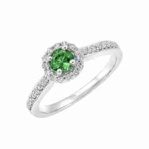 14K White Gold Halo Prong Emerald Ring (1/3 Ct. Tw.)