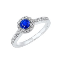 14K White Gold Halo Prong Sapphire Ring (1/3 Ct. Tw.)