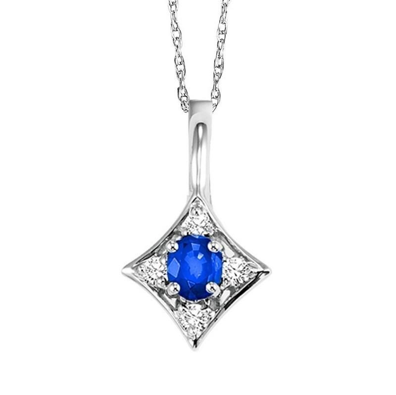 Sapphire & Diamond Halo Pendant In 14K White Gold (1/20 Ct. Tw.)