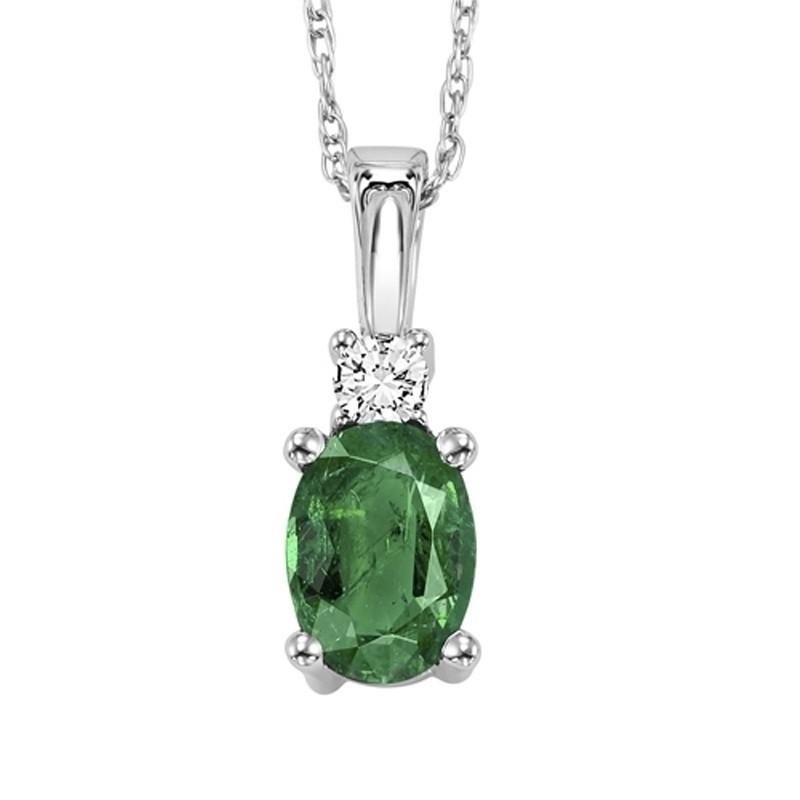 14K White Gold Color Ensembles Prong Emerald Necklace 1/25CT