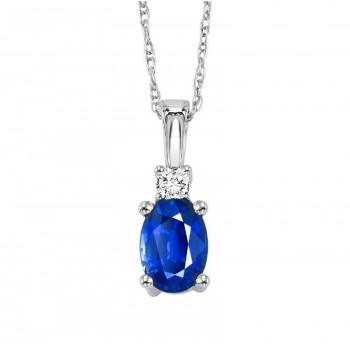 14K White Gold Color Ensembles Prong Sapphire Necklace 1/25CT