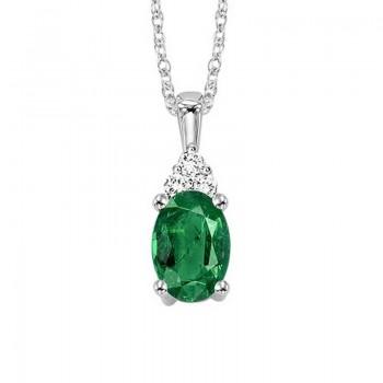 Oval Emerald & Diamond Halo Pendant In 14K White Gold (1/30 Ct. Tw.)