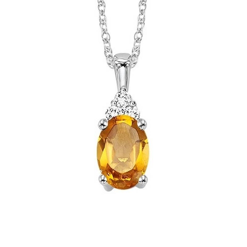 Oval Citrine & Diamond Halo Pendant In 14K White Gold (1/30 Ct. Tw.)