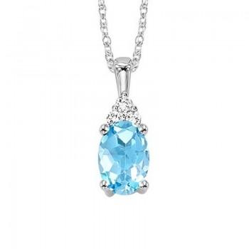 Oval Blue Topaz & Diamond Halo Pendant In 14K White Gold (1/30 Ct. Tw.)