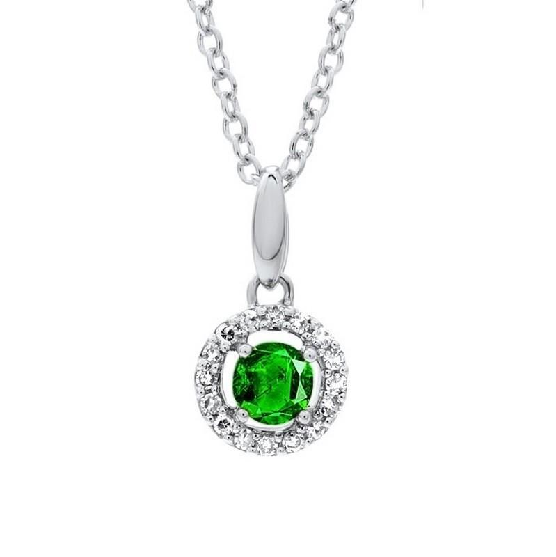 Emerald & Diamond Halo Pendant Necklace In 10K White Gold (1/25 Ct. Tw.)
