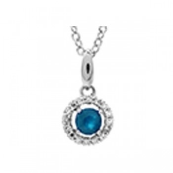Sapphire & Diamond Halo Pendant Necklace In 10K White Gold (1/25 Ct. Tw.)