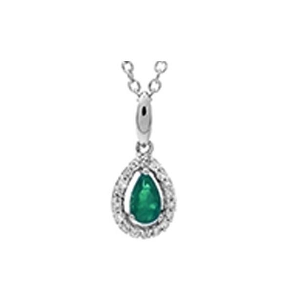 Emerald & Diamond Teardrop Halo Pendant Necklace In 10K White Gold (1/25 Ct. Tw.)
