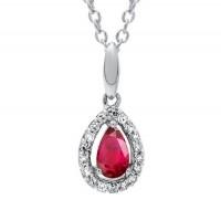 Ruby & Diamond Teardrop Halo Pendant Necklace In 10K White Gold (1/25 Ct. Tw.)
