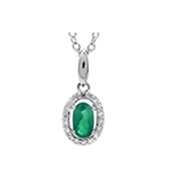 Emerald & Diamond Oval Halo Pendant Necklace In 10K White Gold (1/25 Ct. Tw.)