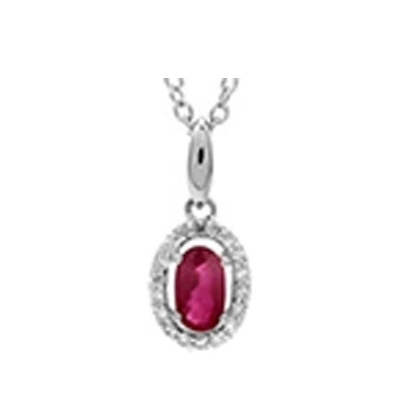 Ruby & Diamond Oval Halo Pendant Necklace In 10K White Gold (1/25 Ct. Tw.)