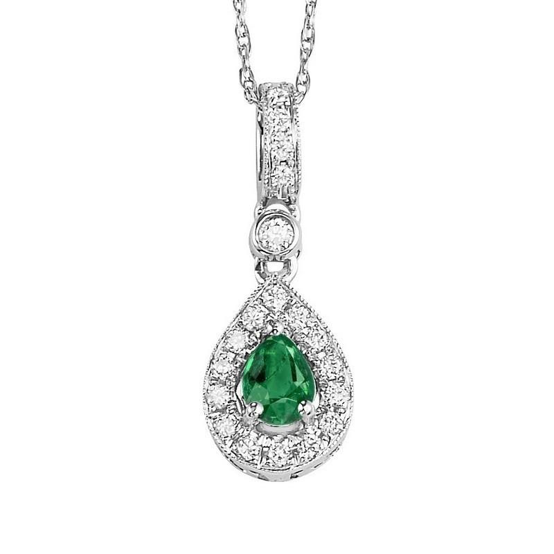 Teardrop Emerald & Diamond Halo Pendant In 14K White Gold (1/10 Ct. Tw.)