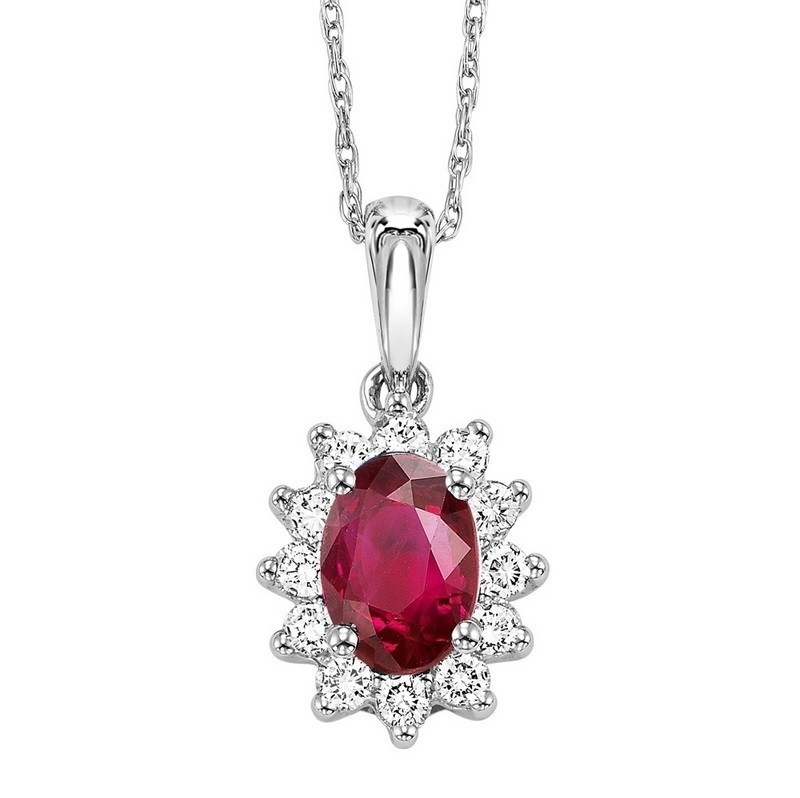 Oval Ruby & Diamond Star Halo Pendant In 14K White Gold (1/5 Ct. Tw.)