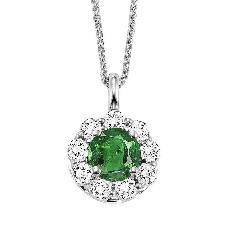 Round Emerald & Diamond Halo Pendant In 14K White Gold (1/2 Ct. Tw.)