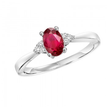 10K White Gold Prong Ruby Ring (1/25 Ct. Tw.)