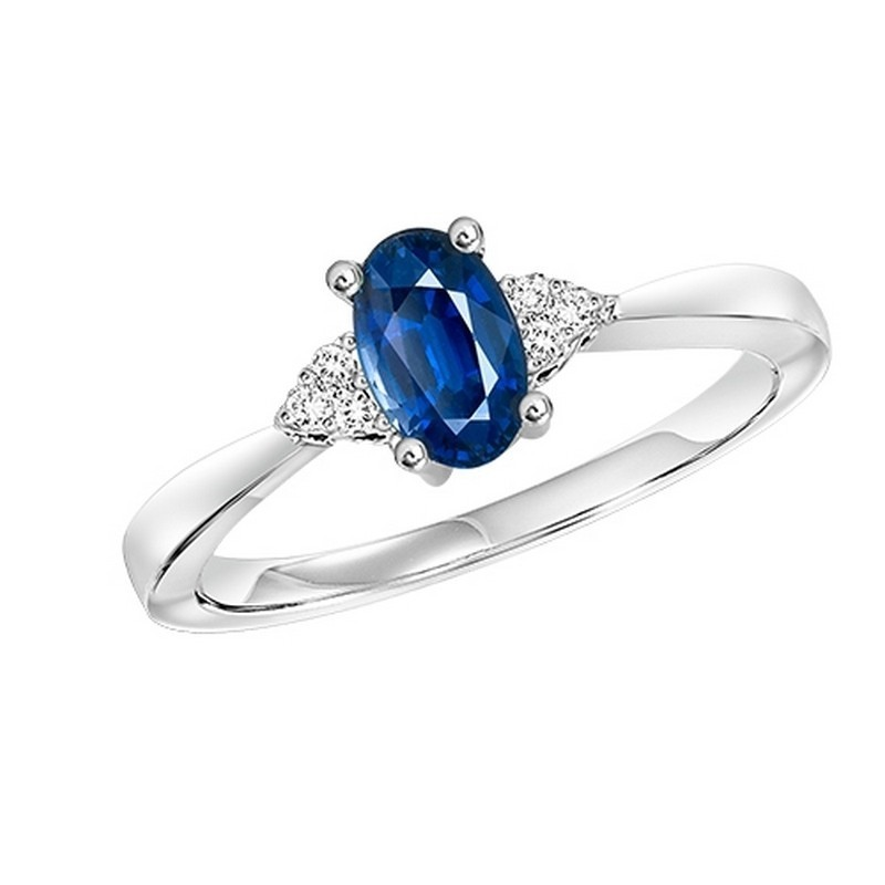 10K White Gold Prong Sapphire Ring (1/25 Ct. Tw.)