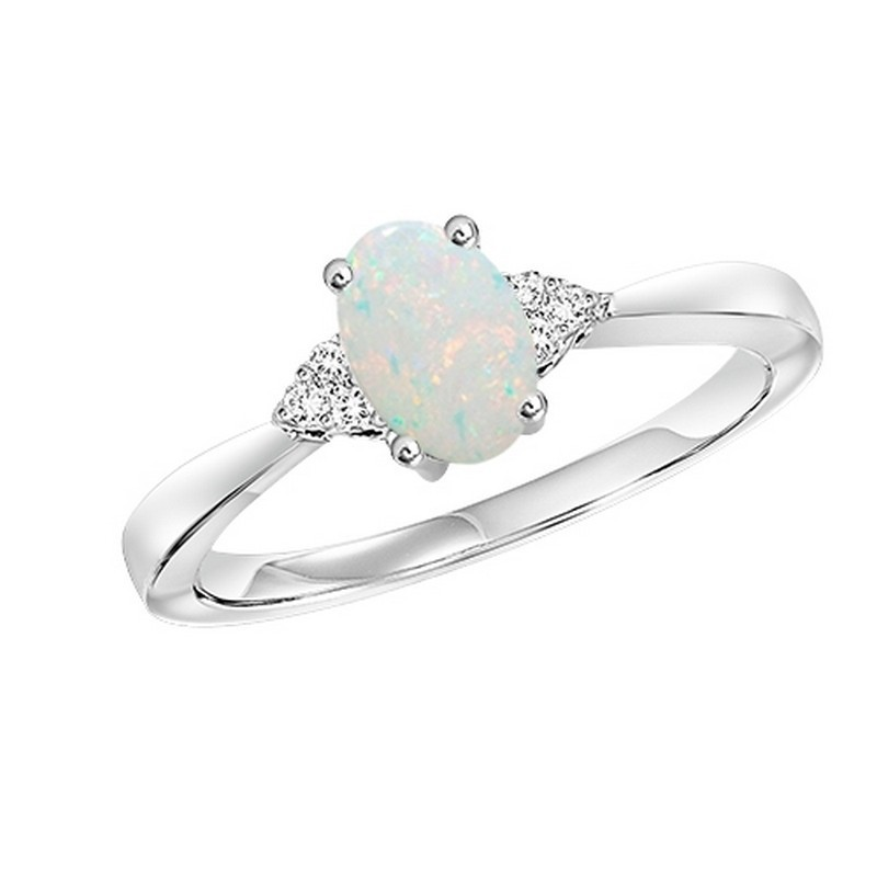 10K White Gold Prong Opal Ring (1/25 Ct. Tw.)