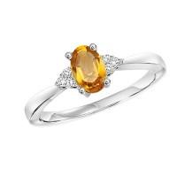 10K White Gold Prong Citrine Ring (1/25 Ct. Tw.)