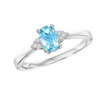 10K White Gold Prong Blue Topaz Ring (1/25 Ct. Tw.)