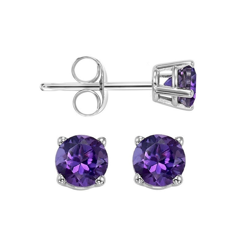 Four Prong Amethyst Studs In 14K White Gold (4 MM)