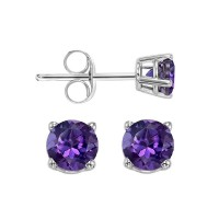 Four Prong Amethyst Studs In 14K White Gold (4.5 MM)