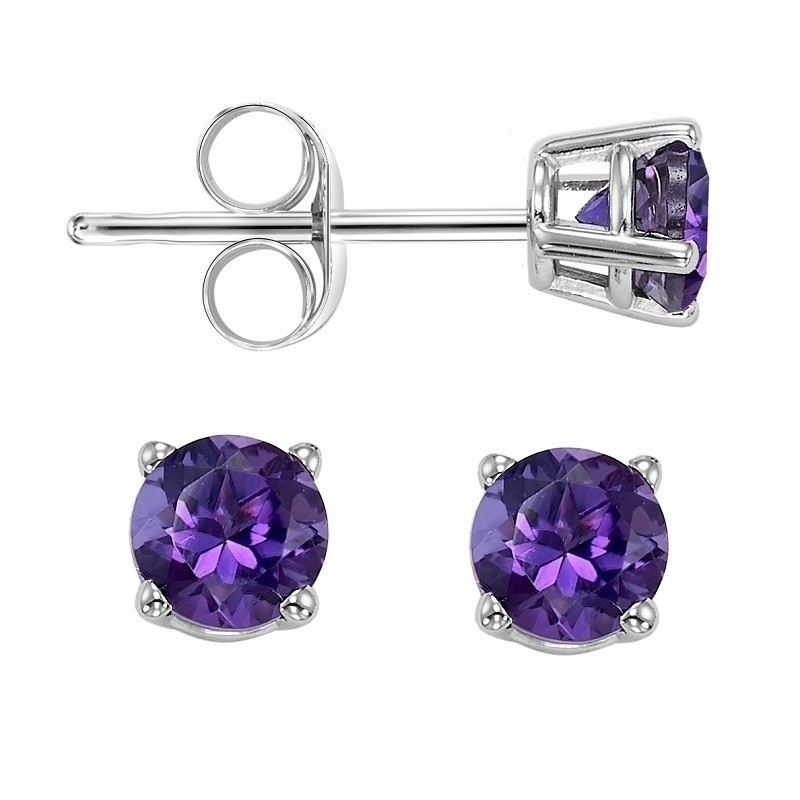 Four Prong Amethyst Studs In 14K White Gold (5 MM)