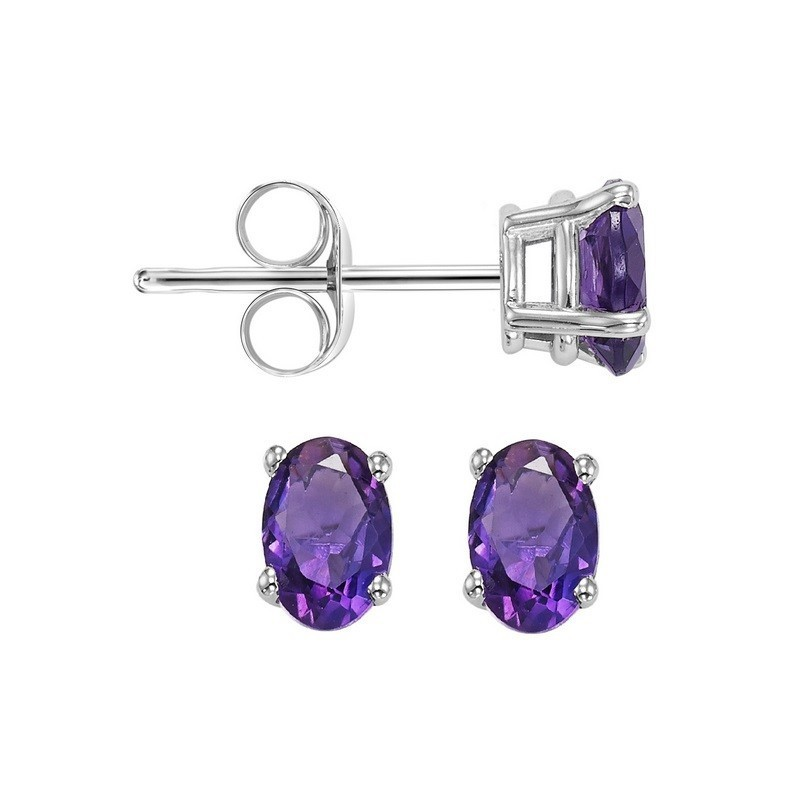 Oval Prong Set Amethyst Studs In 14K White Gold