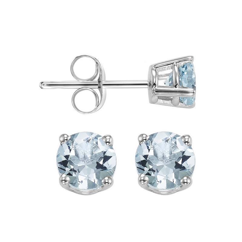 Four Prong Aquamarine Studs In 14K White Gold (4 MM)