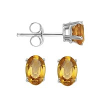 Oval Prong Set Citrine Studs In 14K White Gold