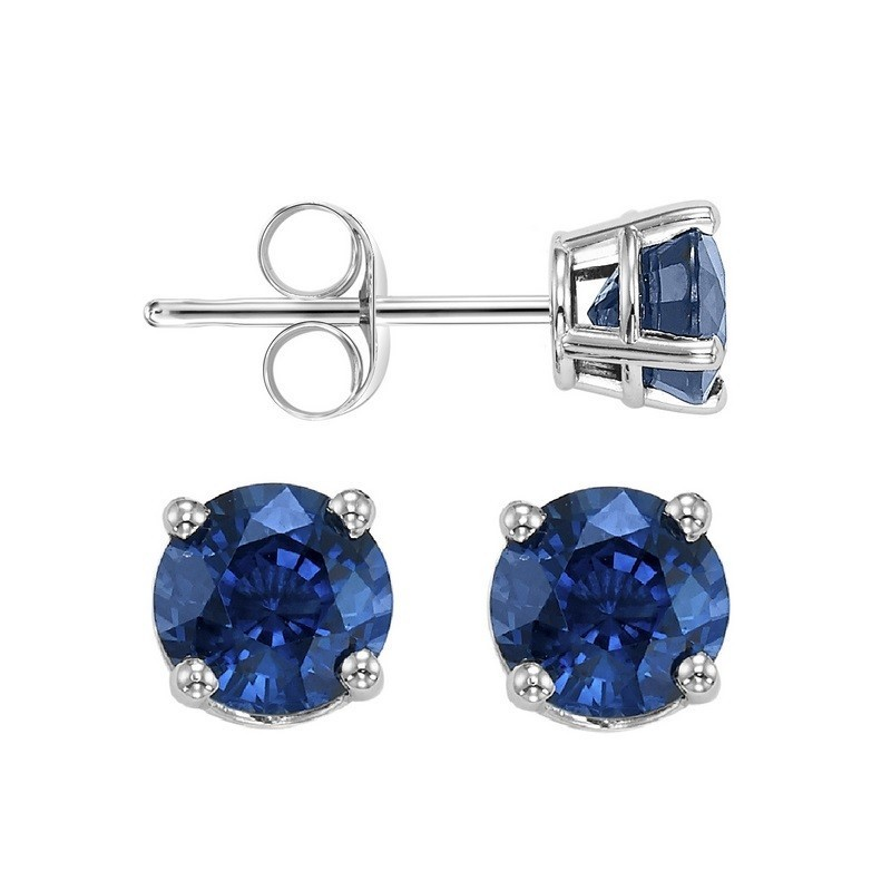 Round Prong Set Sapphire Stud Earrings In 14K White Gold