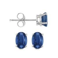 Oval Prong Set Sapphire Stud Earrings In 14K White Gold