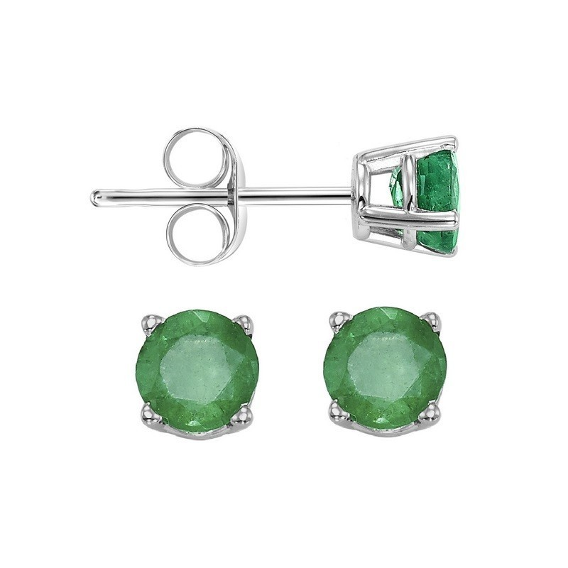 Round Prong Set Emerald Studs In 14K White Gold