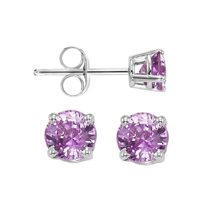 Round Prong Set Pink Sapphire Studs In 14K White Gold