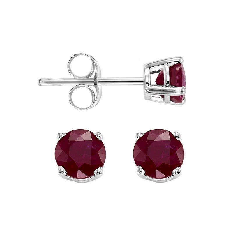 Round Prong Set Ruby Stud Earrings In 14K White Gold