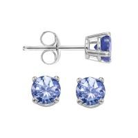Round Prong Set Tanzanite Stud Earrings In 14K White Gold