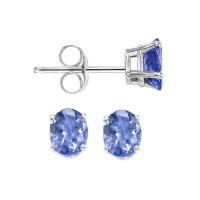 Oval Prong Set Tanzanite Stud Earrings In 14K White Gold