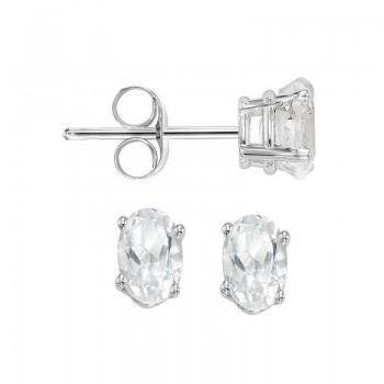 Oval Prong Set White Sapphire Stud Earrings In 14K White Gold