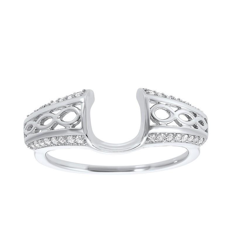 14K White Gold Inserts Prong Diamond Ring (1/6 Ct. Tw.)