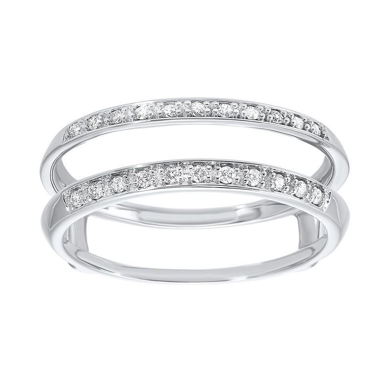 14K White Gold Inserts Prong Diamond Ring (1/10 Ct. Tw.)