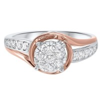 14K Two-Tone Gold Complete Micro Prong Diamond Ring (1/2 Ct. Tw.)