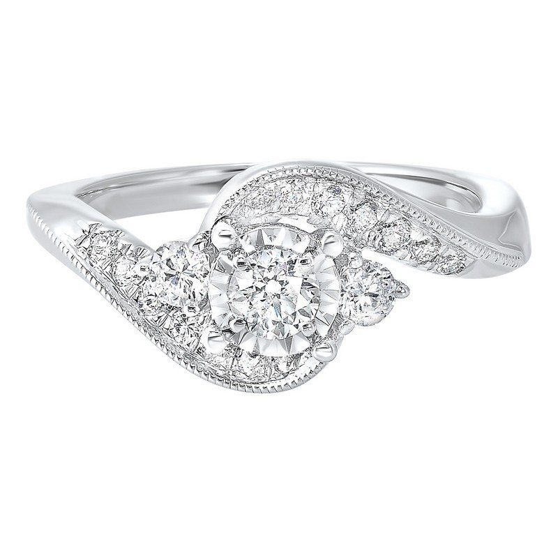 14K White Gold Complete Prong Diamond Ring (5/8 Ct. Tw.)