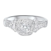14K White Gold Complete Micro Prong Diamond Ring (3/5 Ct. Tw.)