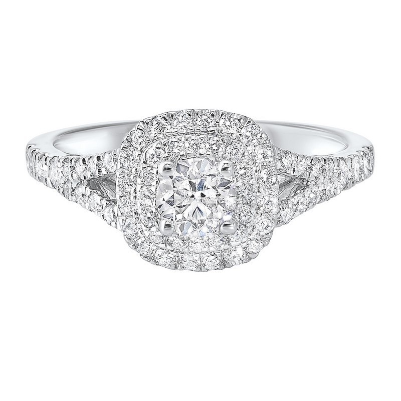 14K White Gold Complete Split Prong Diamond Ring (7/8 Ct. Tw.)
