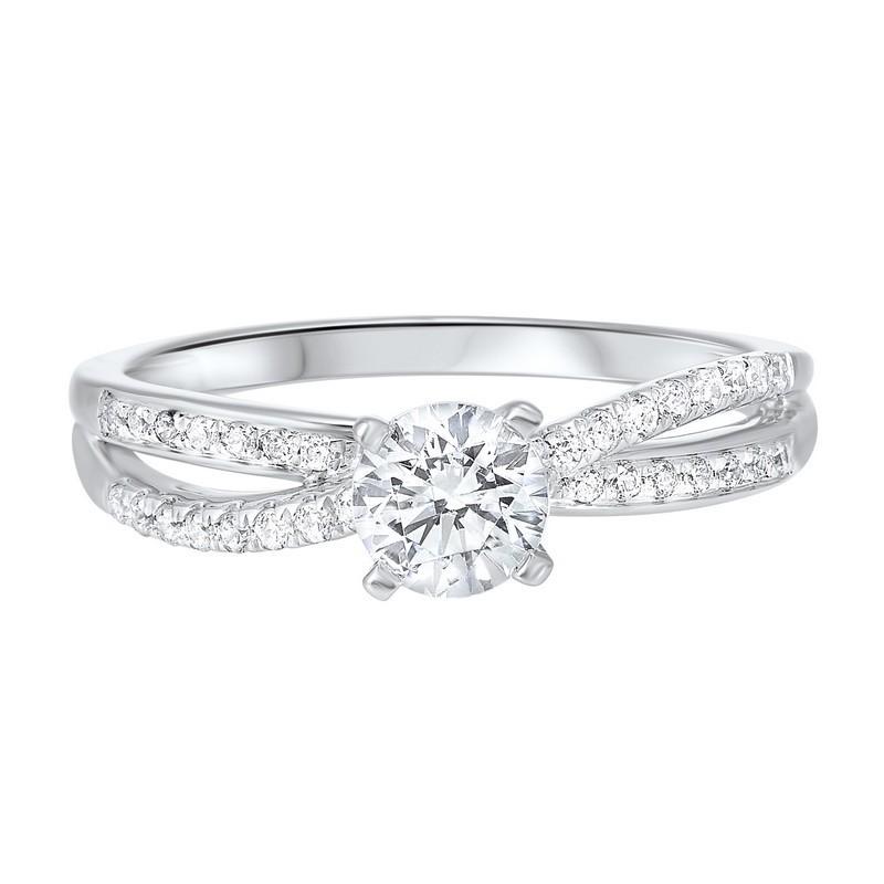 14K White Gold Complete Split Prong Diamond Ring 2/(3 Ct. Tw.)