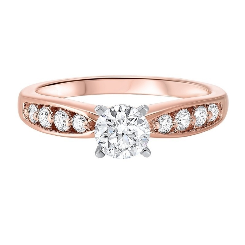 14K Rose Gold Complete Bridal Diamond Ring (7/8 Ct. Tw.)